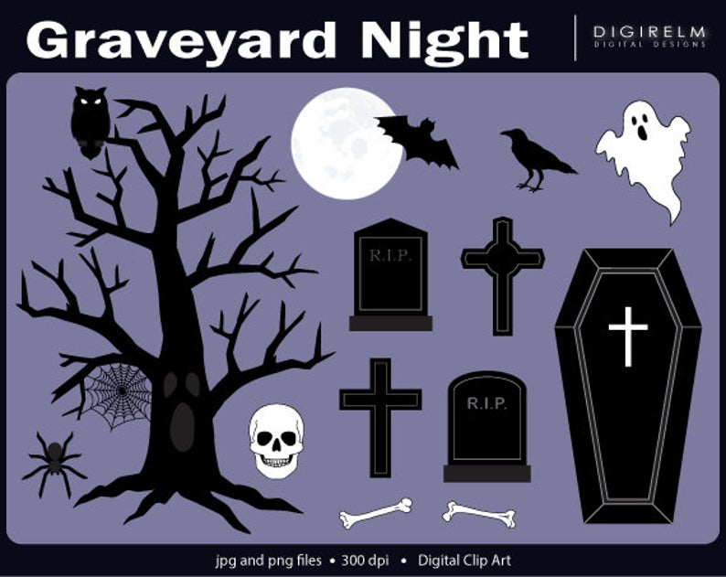 Halloween digital printable clip. Graveyard clipart night