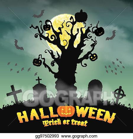 Vector art halloween silhouette. Graveyard clipart night