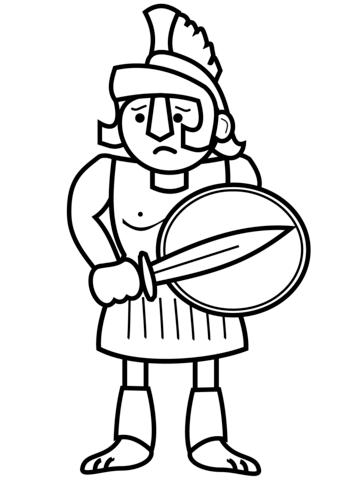Cartoon ancient greek soldier. Greece clipart easy