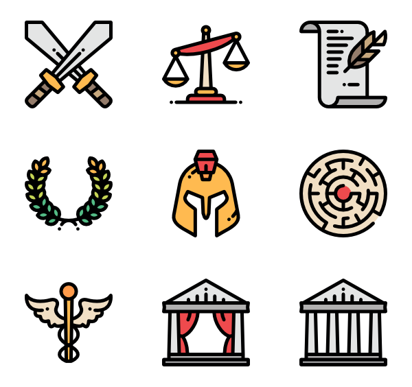 Icons free vector ancient. Greece clipart greek letter