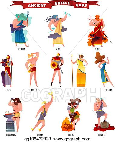 Eps vector ancient gods. Greece clipart illustration