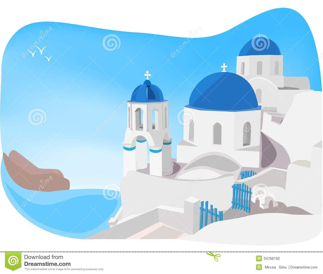 Greece clipart illustration. Santorini clip art