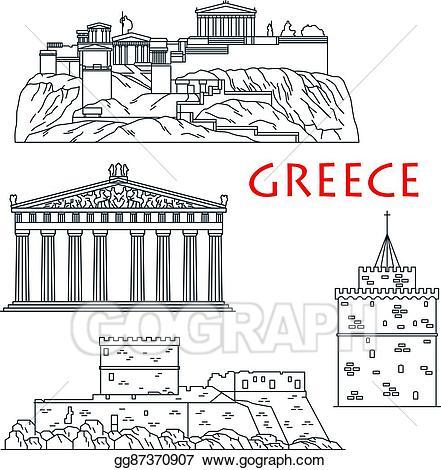 Vector illustration ancient travel. Greece clipart landmarks