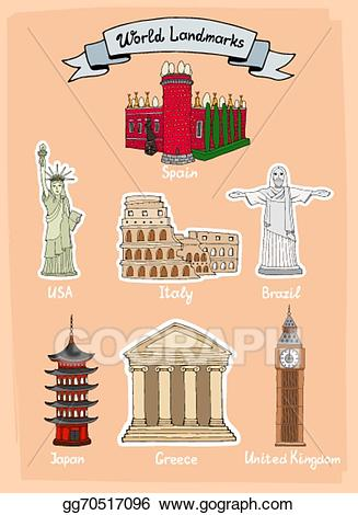 Greece clipart landmarks. Eps vector world icon