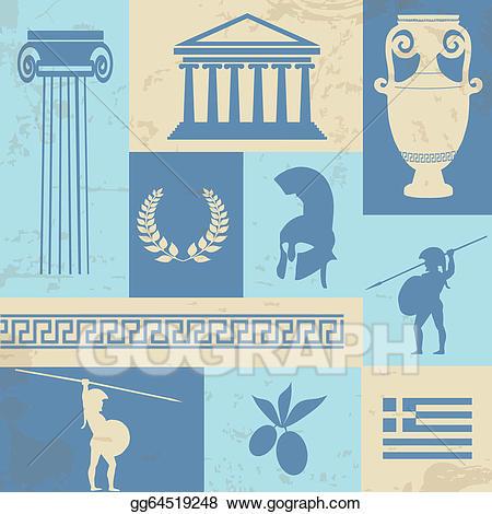 Greece clipart landmarks. Vector stock symbols and