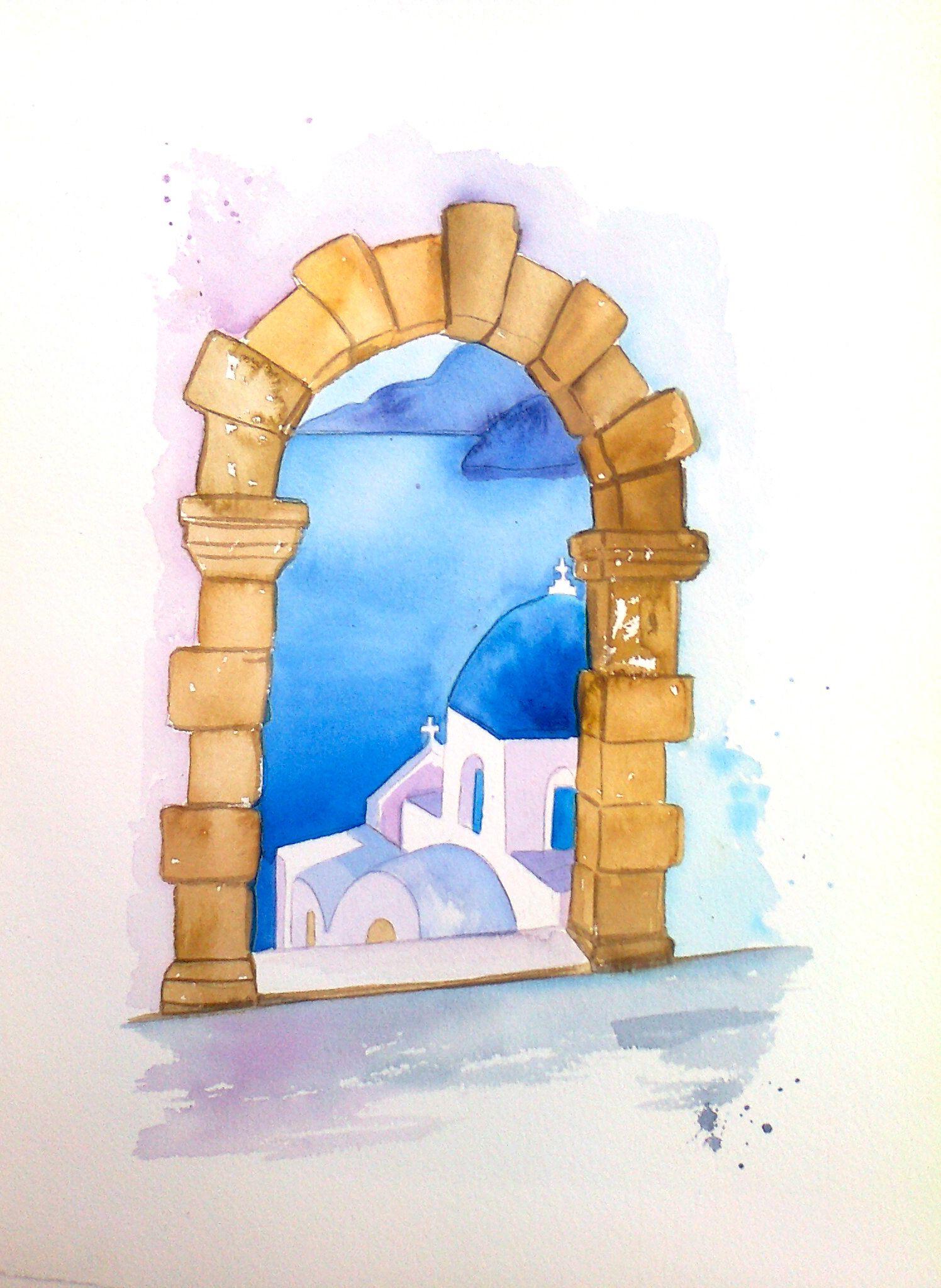 Original watercolor x santorini. Greece clipart landscape greek