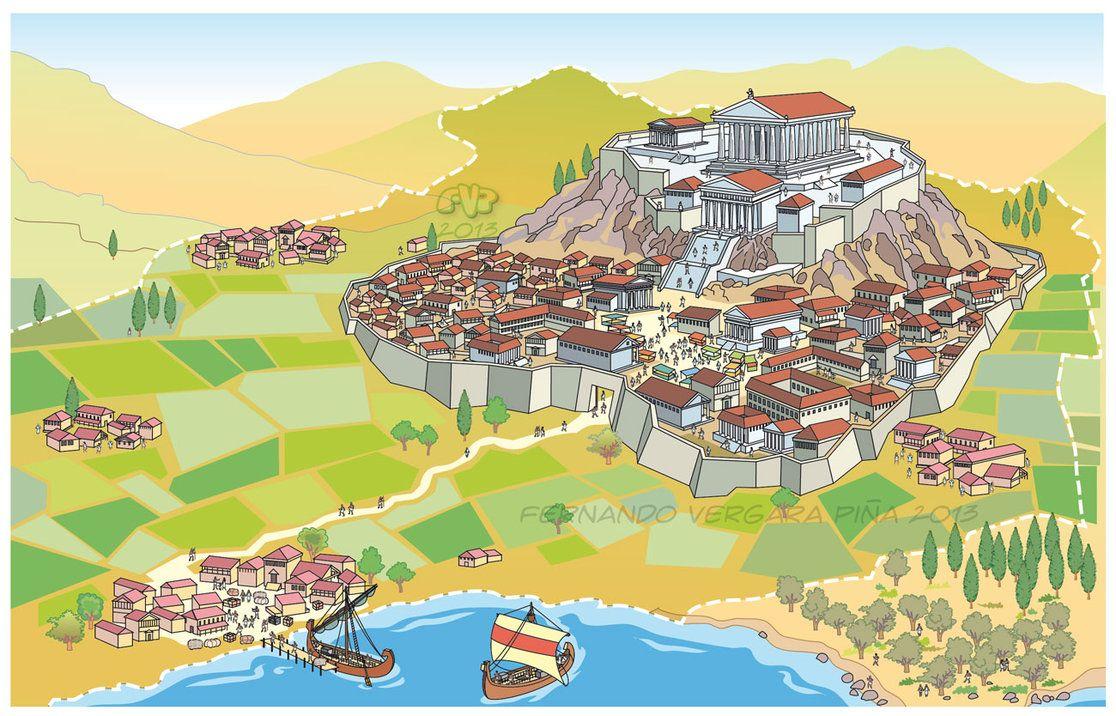 Greece clipart landscape greek. Ancient polis by tripio