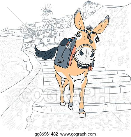 Greek clipart ancient village. Vector stock donkey in
