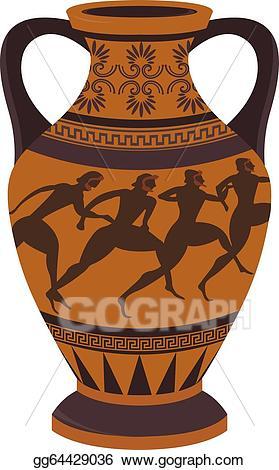 Greek clipart pottery greek. Vector art vase drawing