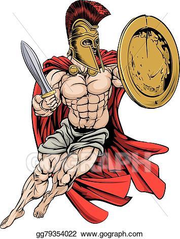 Vector art red caped. Warrior clipart warrior greek
