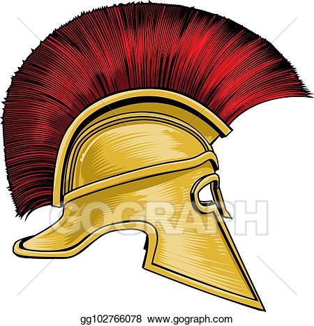 Warrior clipart warrior helmet. Vector illustration spartan ancient