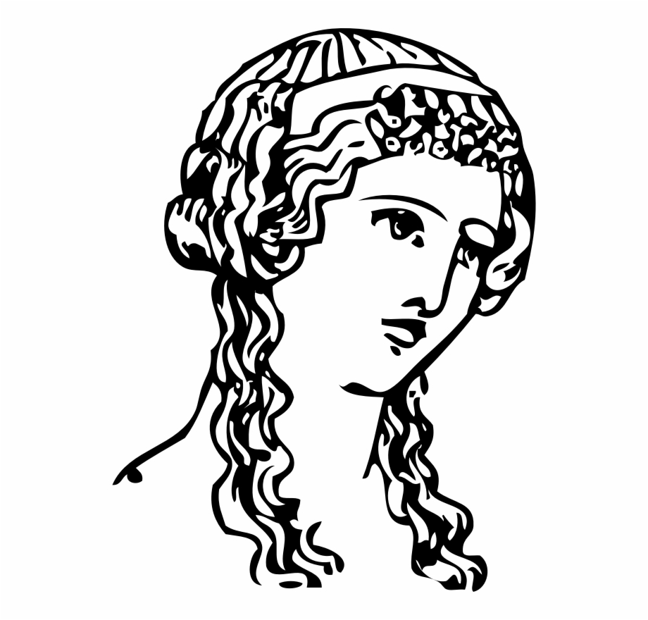 Hairdressing icon png woman. Greek clipart grecian