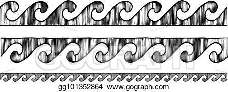 Eps illustration wave ornament. Greek clipart grecian