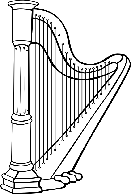 Harp black white line. Xylophone clipart colouring