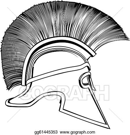 Vector stock black and. Spartan clipart ancient