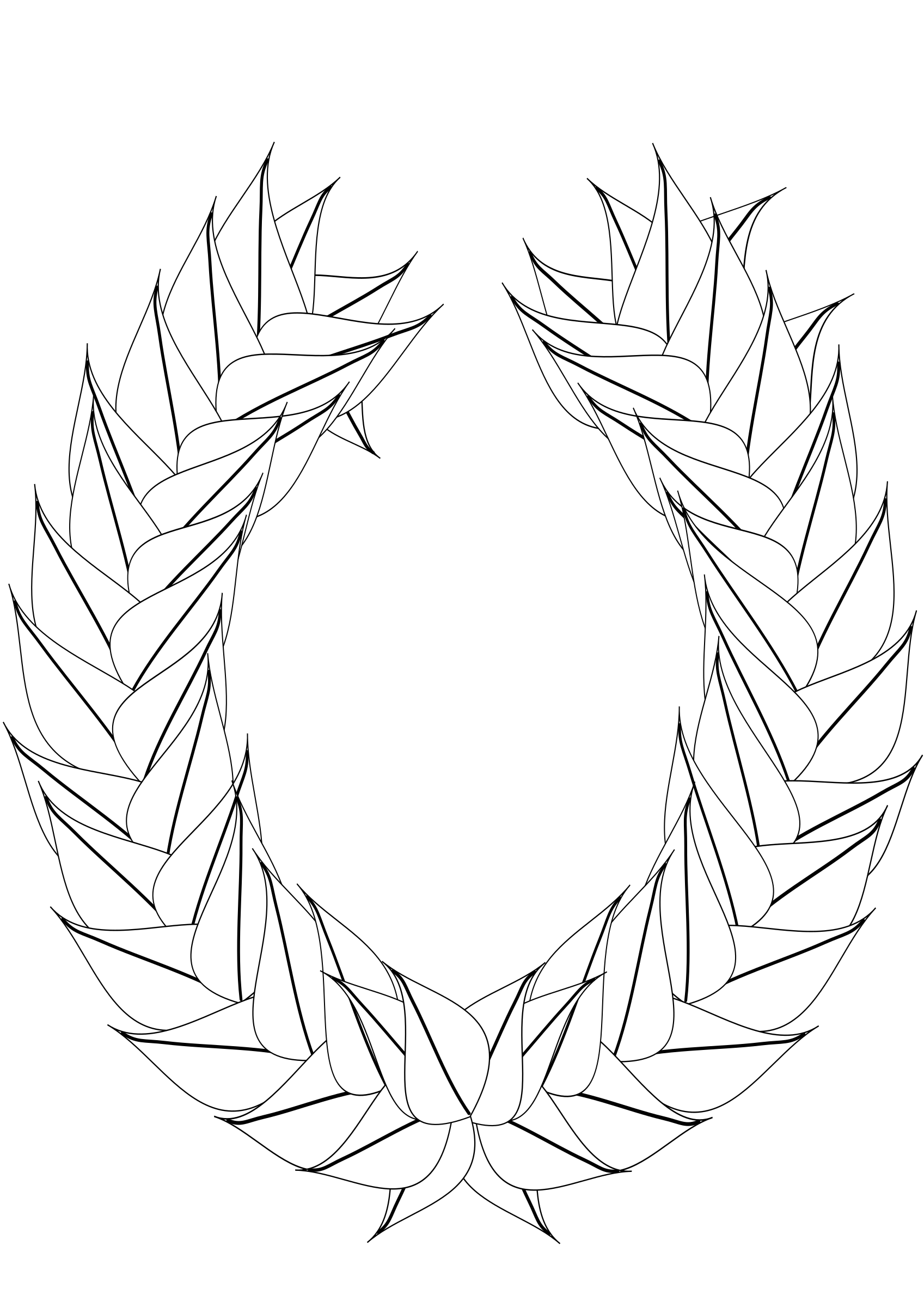 Laurel blank outline big. White clipart wreath