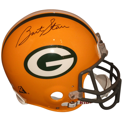Bart starr autographed deluxe. Green bay packers helmet png