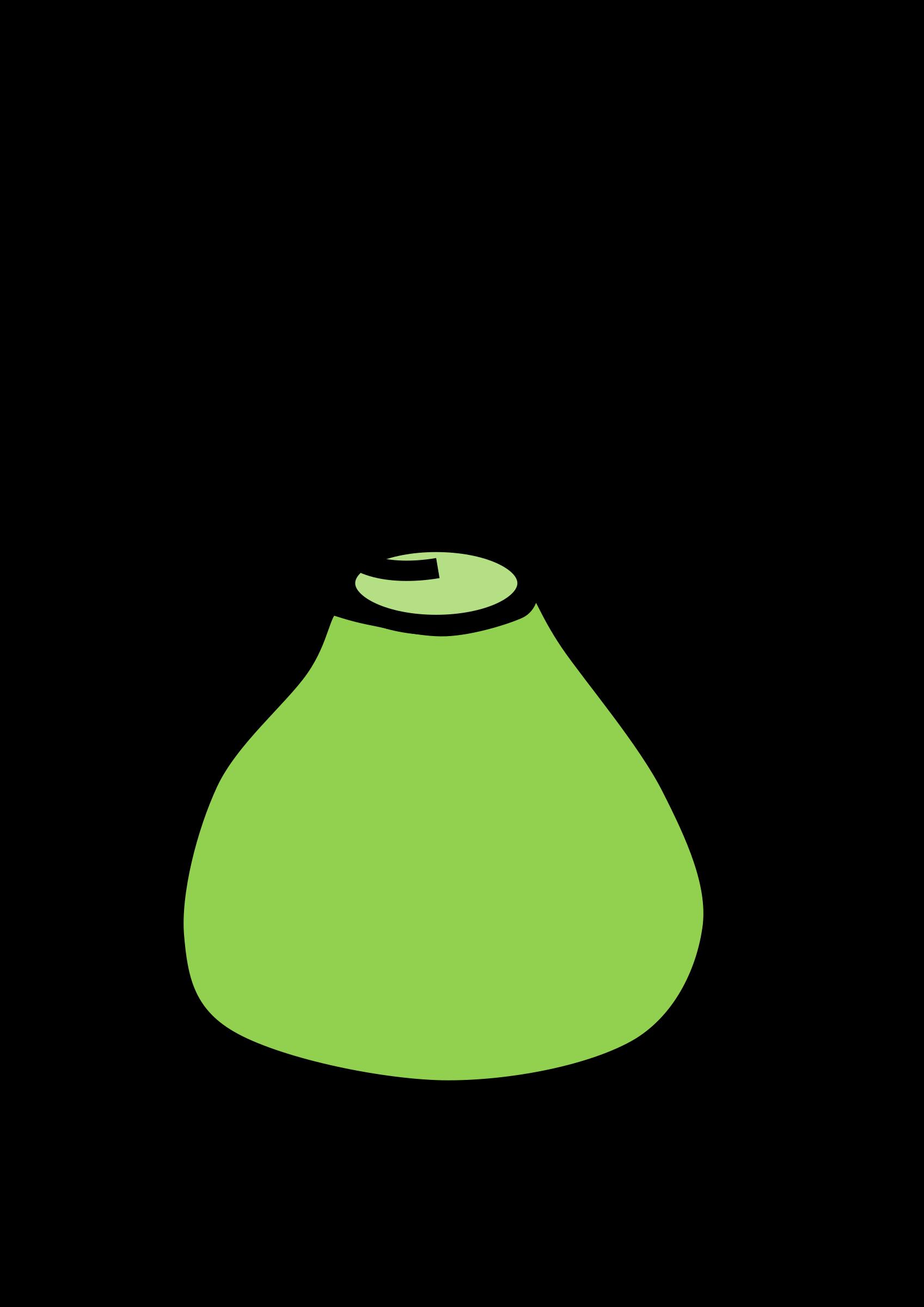 Erlenmeyer flask with liquid. Green clipart beaker