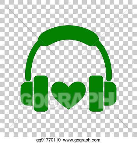 Eps illustration with heart. Headphones clipart green
