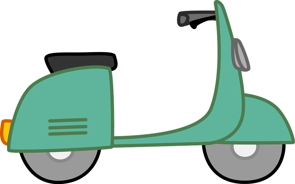 Moped group free illustration. Green clipart motorbike