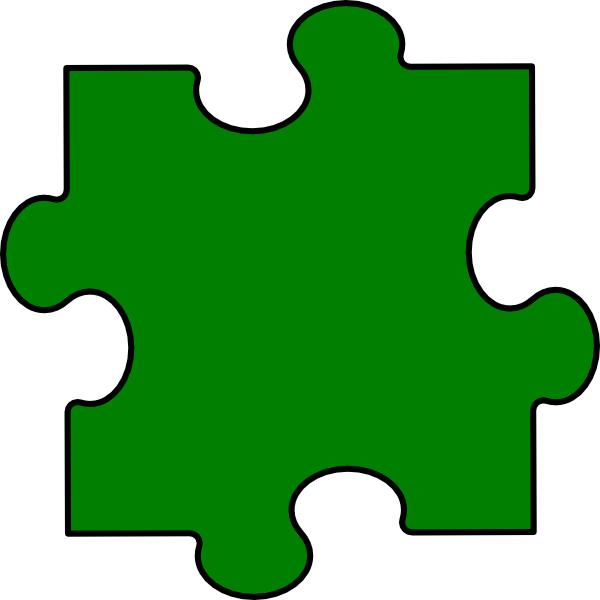 Puzzle clipart 4 piece. Green clip art at