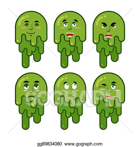 Slime clipart snot. Vector booger emotions set