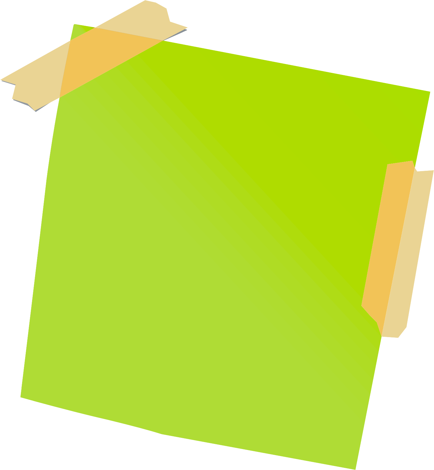 Green clipart sticky note. With tape transparent png