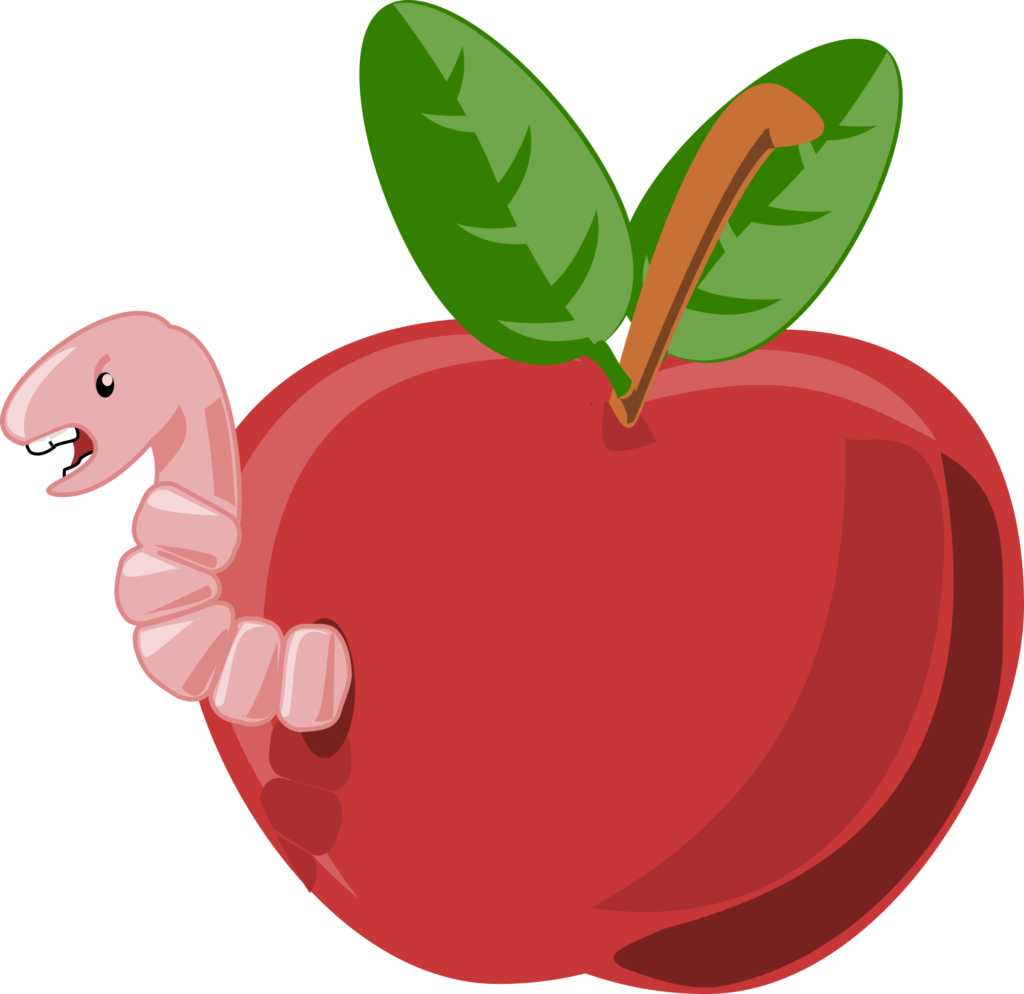 Rg cartoon apple with. Green clipart worm