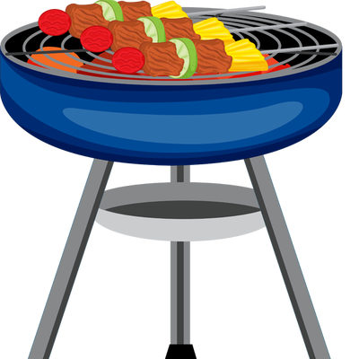 Grill clipart. Bbq with fire panda