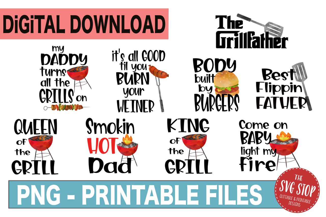Bbq bundle sublimation design. Grill clipart father's day