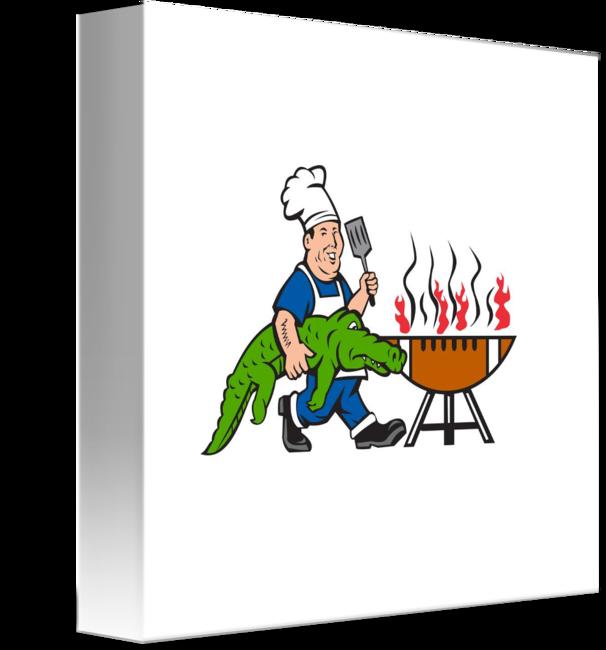 Chef alligator spatula grill. Logo clipart bbq