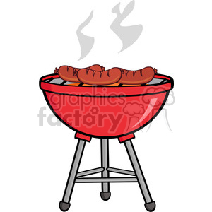 Grilling clipart description. Grilled sausages on barbecue