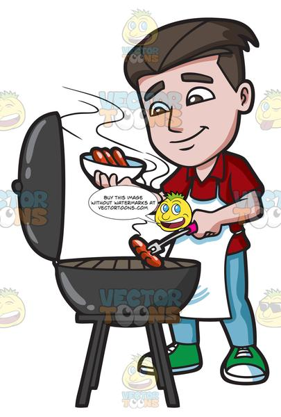 Grill clipart hot object. A man cooking dogs