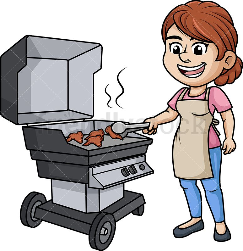Woman grilling chicken wings. Grill clipart kitchen