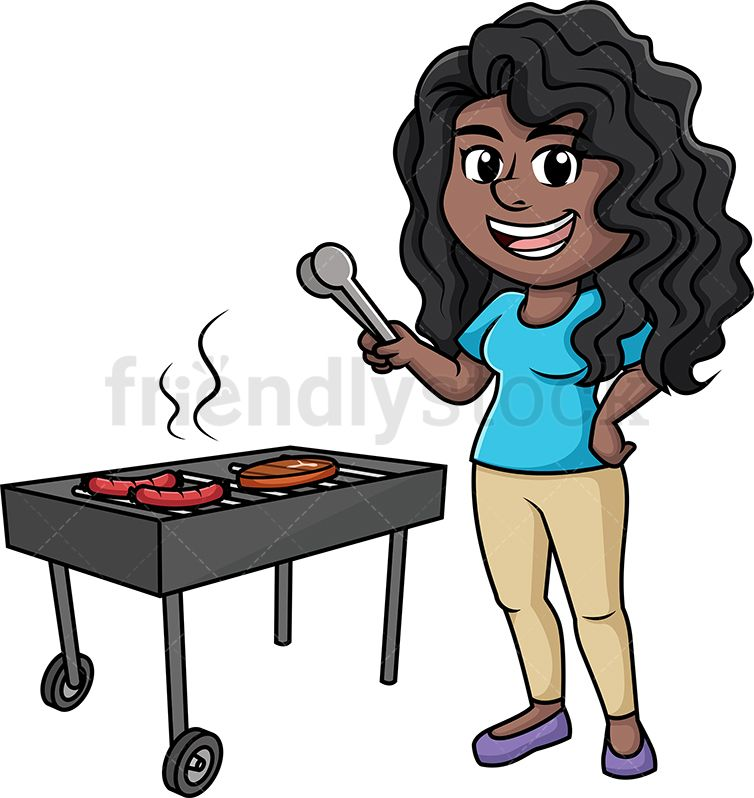 Black woman cooking bbq. Grill clipart kitchen