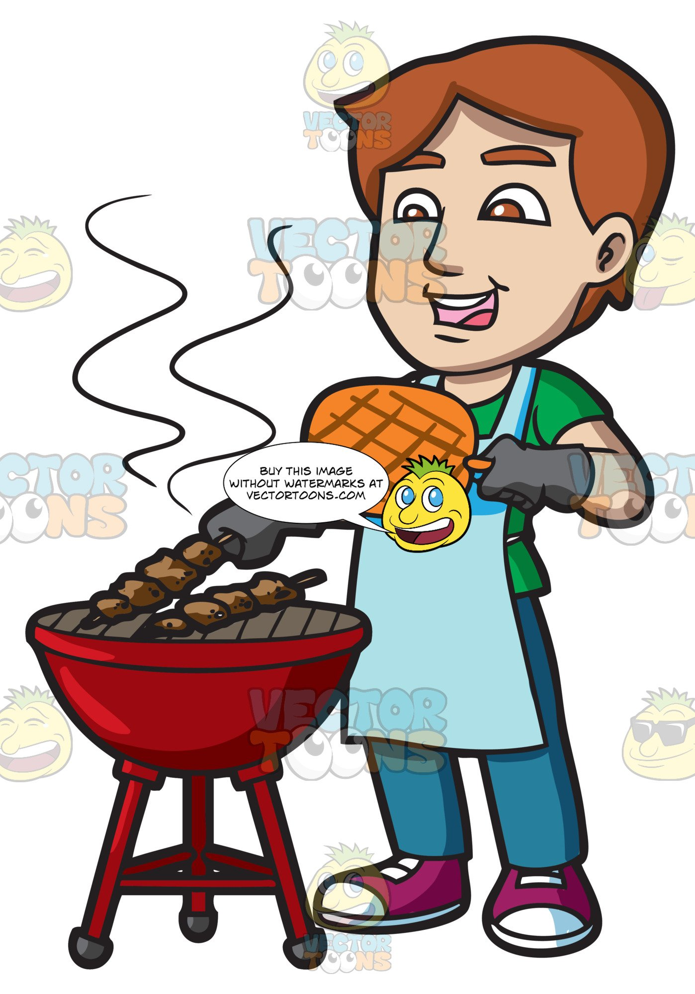 Grill clipart kitchen. A man cooking barbecue