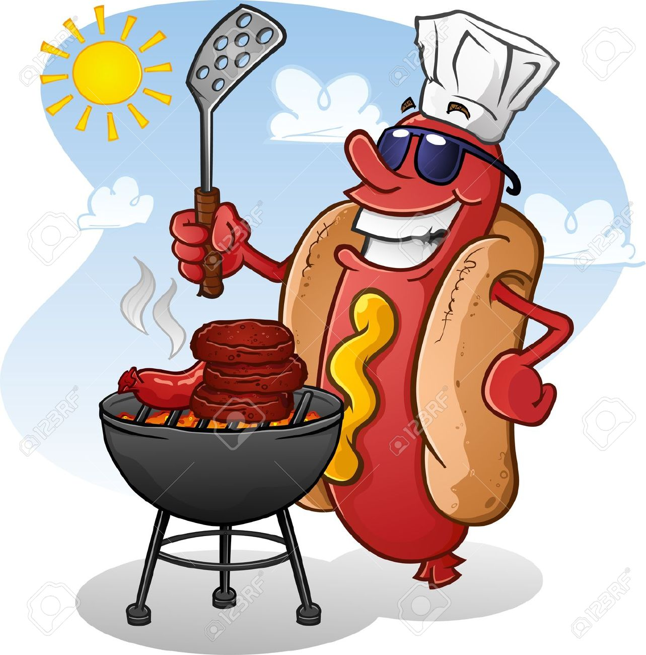Hot dogs . Grilling clipart