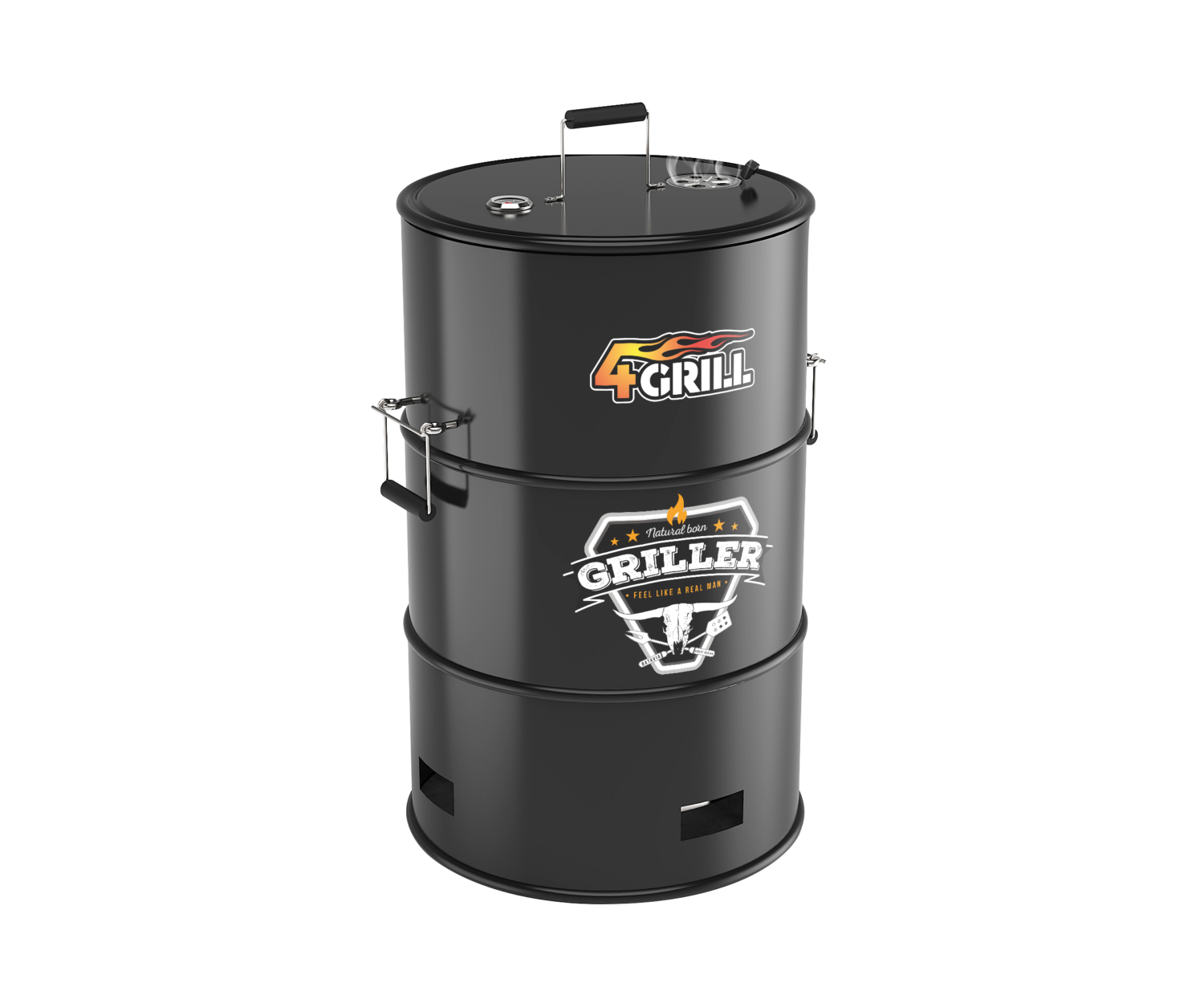 barbecue with functions. Grilling clipart barrel grill