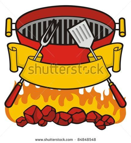 Grilling clipart braai. Barbecue grill over flaming