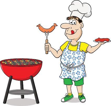 Grilling clipart description. Man with apron steak