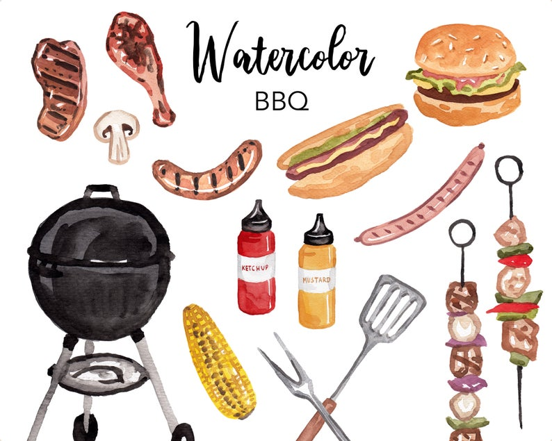 Grilling clipart food puerto rico. Watercolor bbq grill summer