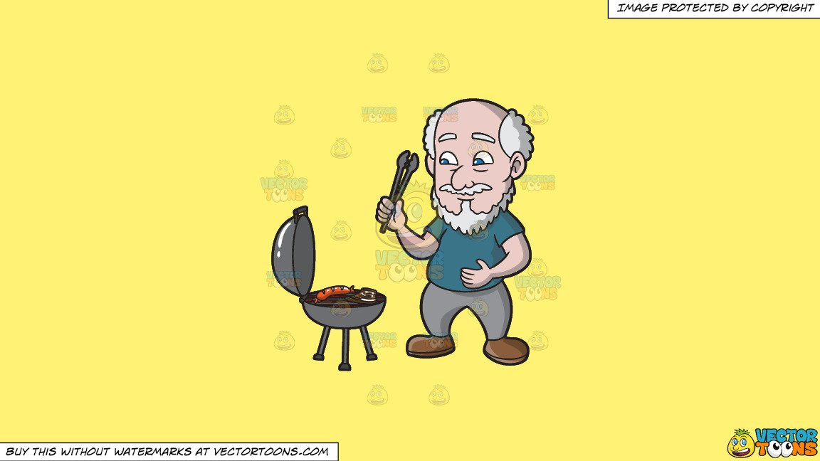 A old man sausage. Grilling clipart hungry