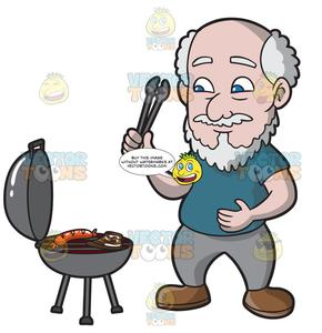 Grilling clipart hungry. A old man sausage
