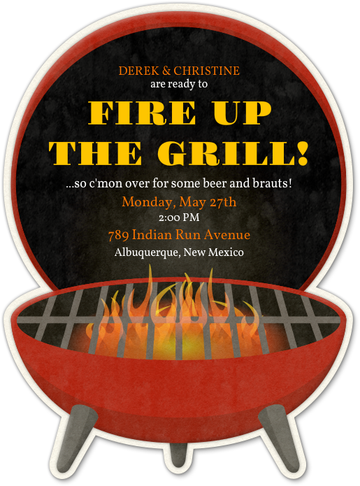 Design your bbq party. Grilling clipart invitation