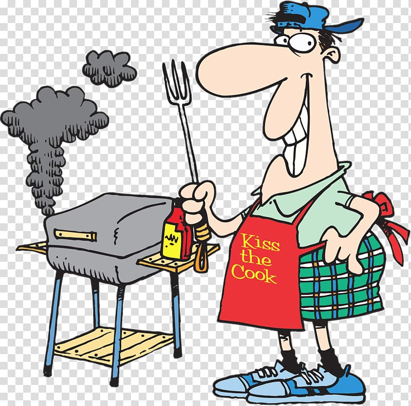 Grilling clipart spring. Male holding fork beside