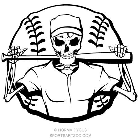 Skeleton batter halloween sports. Grim reaper clipart baseball