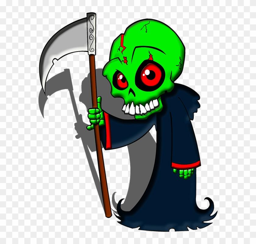 Cartoon scythe skeleton . Grim reaper clipart death