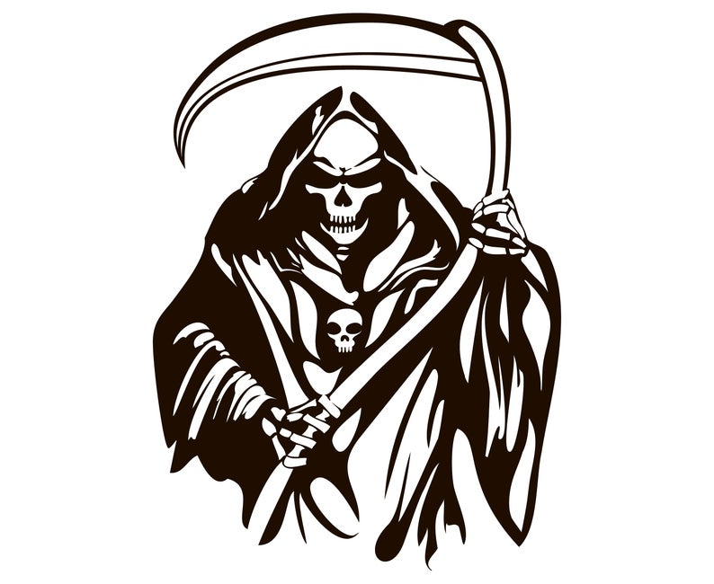Grim reaper clipart death. Halloween svg graphics illustration