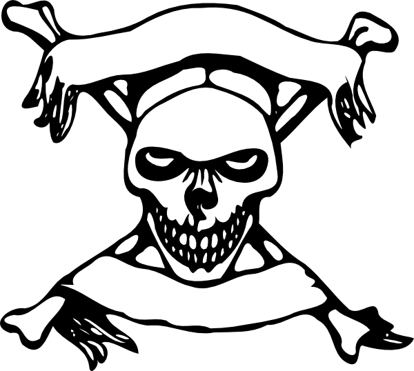 Skull art with banners. Skeleton clipart bow