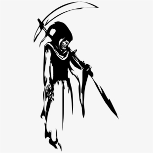 Png black and . Grim reaper clipart side view